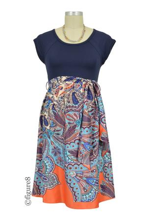 f95ff8780dc Harper Scoop Neck Front Tie Maternity Dress (Navy Paisley Print) by  Maternal America