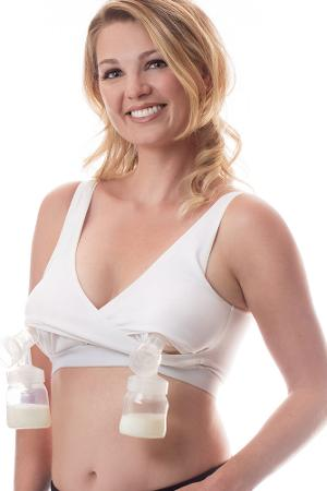 5a2f0efe596 Rumina Classic Crossover Hands-Free Pump Nurse™ Bra with Adjustable Back  Clasp (White)
