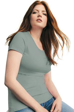 eb203d4d163fe Boob Design Classic Organic Scoop Neck Maternity & Nursing Top (Green Surf)  by Boob