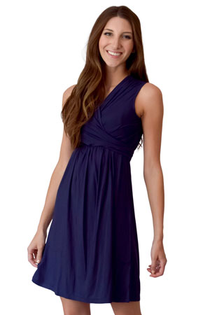 93dfcb57035 Sophie   Eve Charlotte Bamboo Wrap Maternity   Nursing Dress - Sleeveless  (Washed Navy)