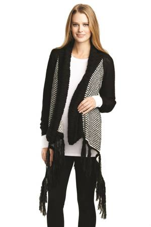 d6531ff5ffa Millie Sweater Maternity Cardigan with Fringe (Black White) by urbanMA