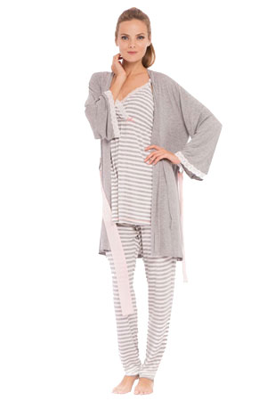 e4a280f832608 Olian Sally Stripes 4-Piece Nursing PJ Set with Baby Outfit (Grey Stripes)