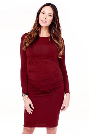 269ab7429ea Ingrid   Isabel Long Sleeve Pleated Maternity Dress (Crimson) by Ingrid    Isabel