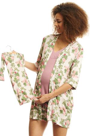 04213276305 Adalia 5-Pc Nursing PJ Short Set with Baby Gown & Gift Bag (Beige