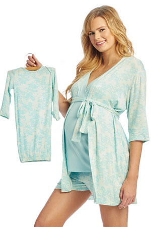 f7e32dc07fd20 Adalia 5-Pc Nursing PJ Short Set with Baby Gown & Gift Bag (Blue