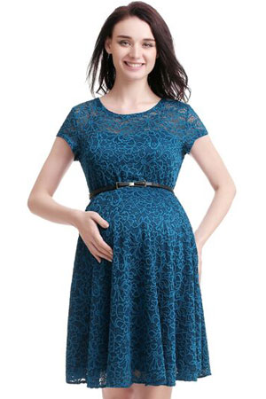 966785c7f39 Olena Lace Skater Maternity Dress (Teal) by Kimi   Kai Maternity