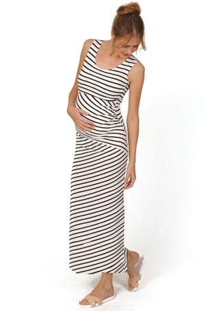 11cd073cb69cf Abby Striped Maternity & Nursing Maxi Dress (Black & White Stripes) by Peek-
