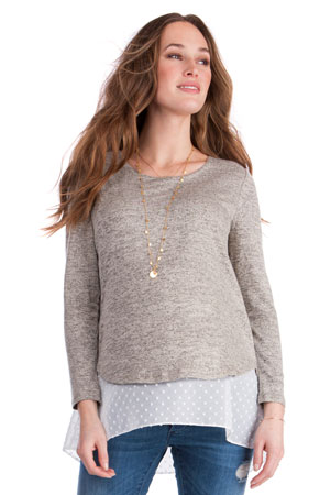 d474286cd6784 Seraphine Anthea Layered Maternity & Nursing Sweater (Sand/White) by  Seraphine