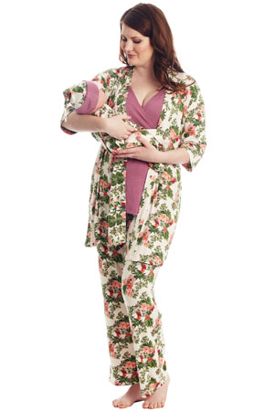 f9e723927e9 Analise 5-Piece Mom and Baby Maternity and Nursing PJ Set (Beige Floral)