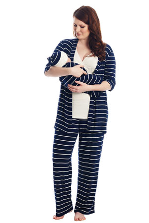 a6050e0f07 Analise 5-Piece Mom and Baby Maternity and Nursing PJ Set (Navy Stripe)