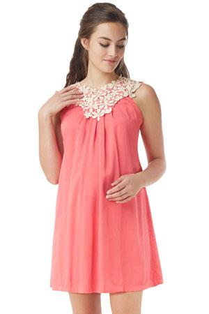 047da073fd8de Bloom Lace Applique Maternity & Nursing Dress (Geogia Peach) by Mothers en  Vogue