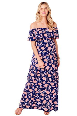 6dec351964e31 Ingrid & Isabel Off-the-Shoulder Maxi Maternity Dress (Coral Cabbage Rose  Print