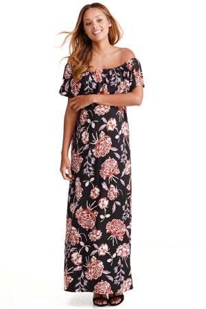 2bf470544bd Ingrid   Isabel Off-the-Shoulder Maxi Maternity Dress (Black Cabbage Rose  Print)
