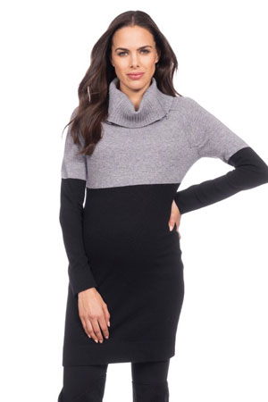 cbb942bbb57c5 Seraphine Flavia Two-Tone Maternity & Nursing Sweater/Tunic (Grey/Black)