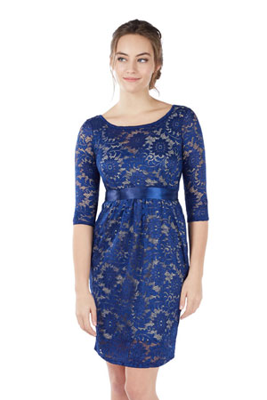 72b497c8e5d Contessa 3/4 Sleeve Maternity & Nursing Dress (Sapphire Blue) by Mothers en