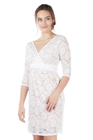 a4f2a111504 Chantel 3/4 Sleeve Lace Nursing Dress (White) by Mothers en Vogue