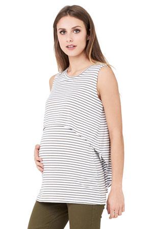 4dc74d58f42a5 Stripe Swing Back Maternity & Nursing Tank (White/Khaki) by Ripe Maternity