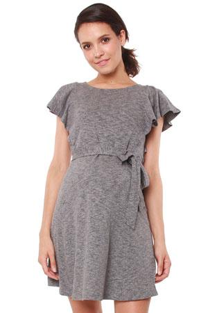7a72778af62e31 Britta Flutter Sleeve Nursing Dress (Grey Melange) by Spring Maternity