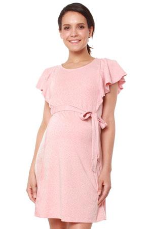 ea7b22c5b7f53 Britta Flutter Sleeve Nursing Dress (Pink Melange) by Spring Maternity