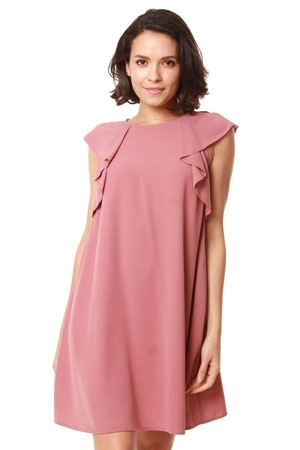 7cb730eea6f58 Eugenia Woven Ruffle Sleeve Maternity & Nursing Dress (Dusty Pink) by Bove  by Spring