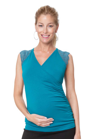 b7a24db1f3d22 Chelsea Lace Sleeve Maternity & Nursing Top (Teal) by Stowaway Collection  Maternity