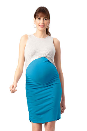3cfa0f7e57713 Twist Colorblock Maternity & Nursing Dress (Teal) by Stowaway Collection  Maternity