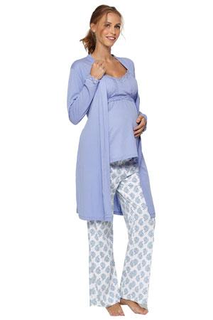 c409e7997e587 Belabumbum Violette 3-Piece Maternity & Nursing Cami PJ & Robe Set  (Violette)