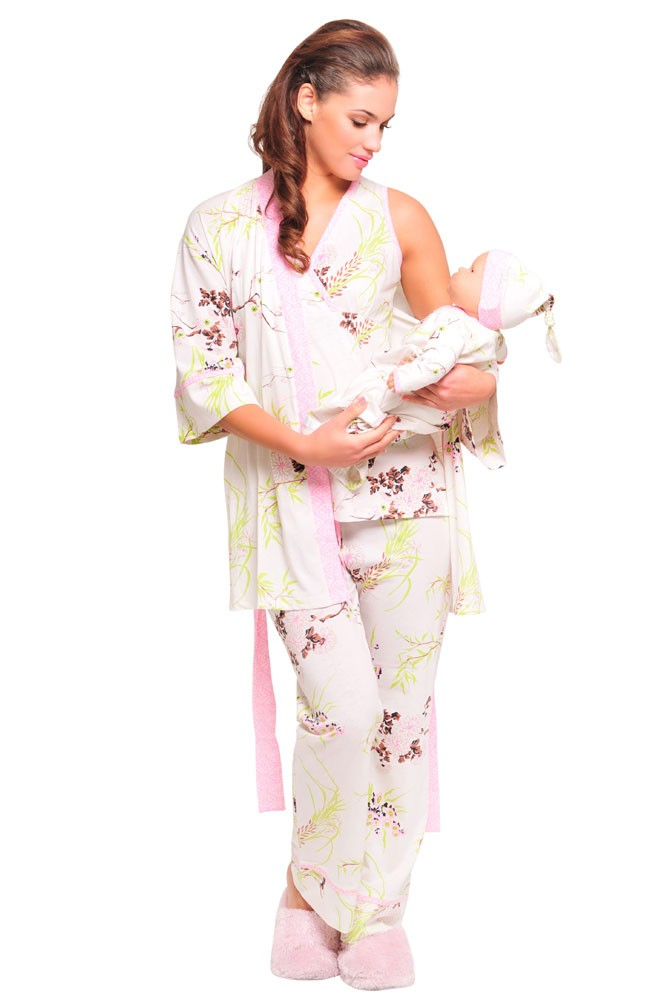 Olian Rose 5-Piece Nursing PJ Set with Baby Outfit (Pink Floral Asian Print)