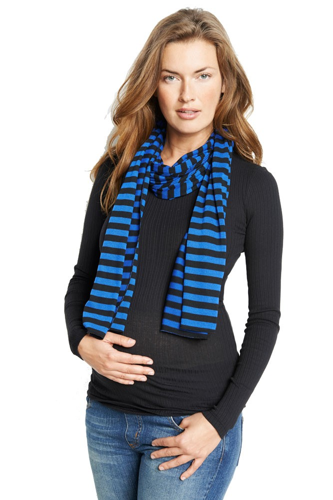 Madison Nursing Scarf (Fall & Winter Weight) (Blue Stripes)