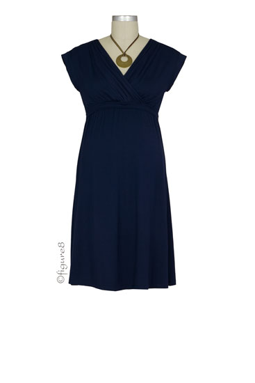 Belle Maternity & Nursing Dress (Navy)