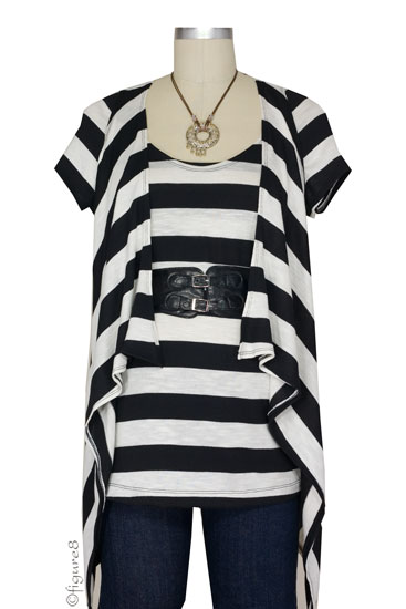 JW Vested Interest 3-piece NursingTop with Belt (Black & White Stripe)