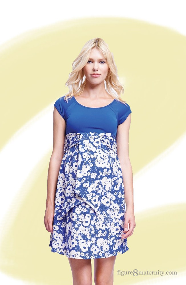 Hayden Scoop Neck Front Tie Maternity Dress (Blue/Abstract Daisy)