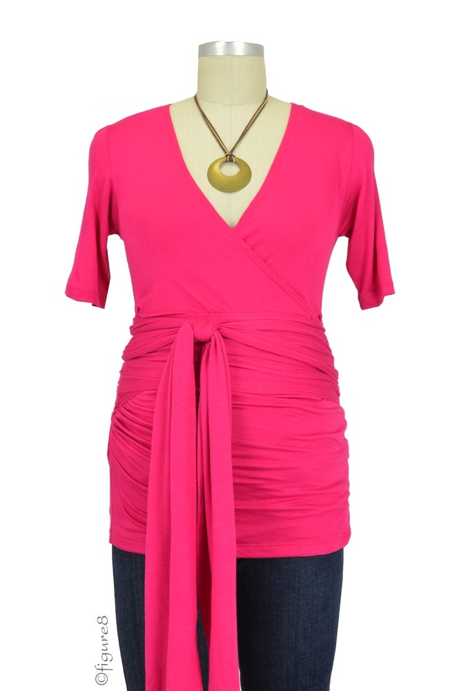 The Bella Wrap Around SS Maternity Top (Hot Pink)