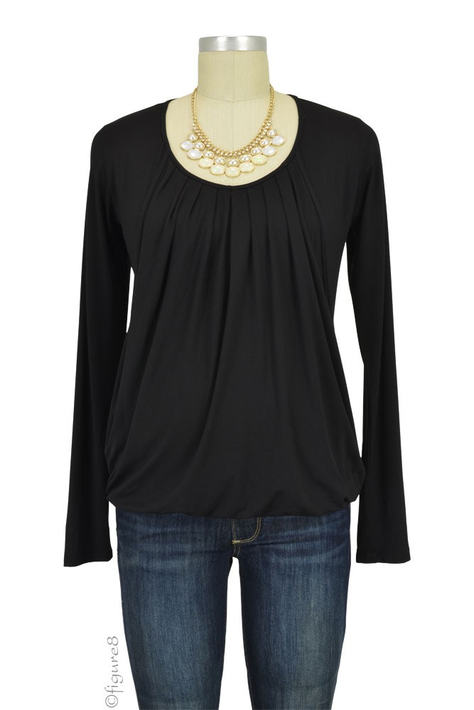 Slouchy Pleated Long Sleeve Nursing Top (Black)
