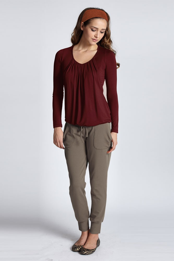 Slouchy Pleated Long Sleeve Nursing Top (Deep Cabernet)