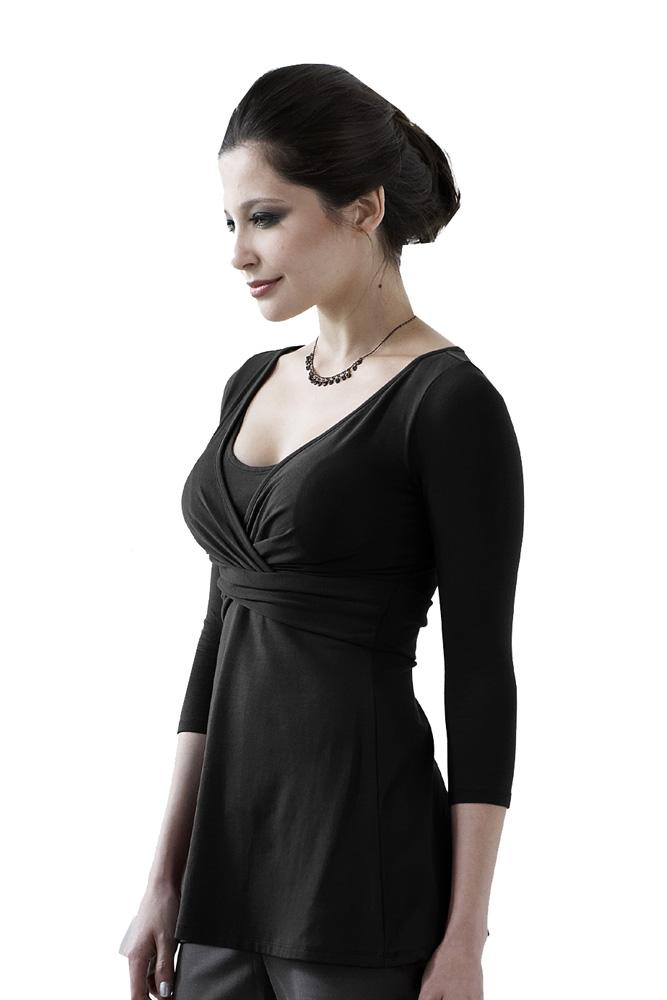 Ava 3/4 Sleeve Wrap Maternity & Nursing Top (Black)