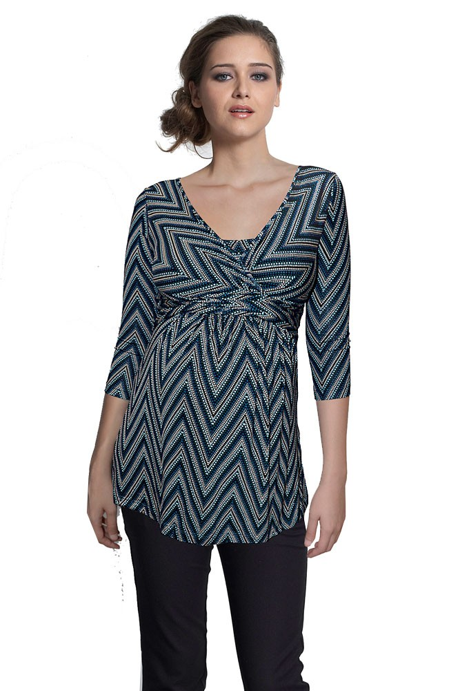 Ava 3/4 Sleeve Wrap Maternity & Nursing Top (Dotted ZigZag)