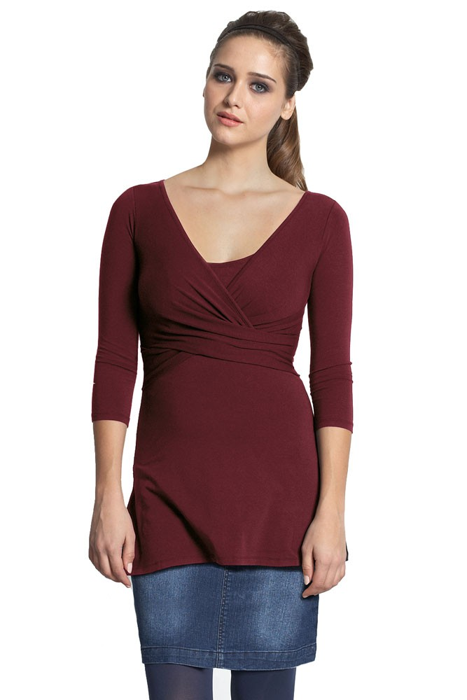 Ava 3/4 Sleeve Wrap Maternity & Nursing Top (Deep Cabernet)