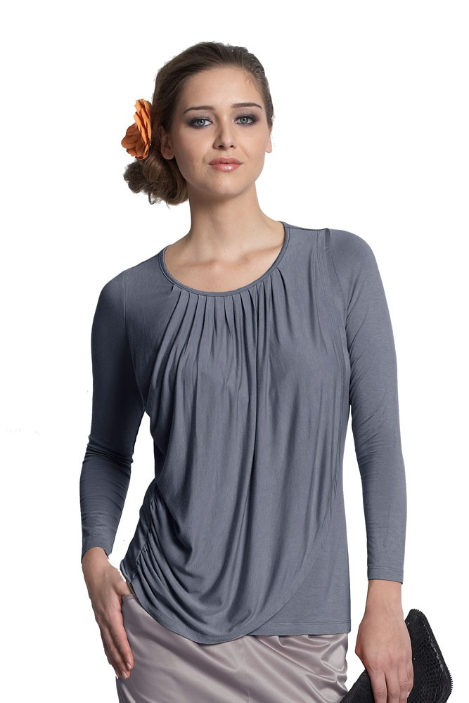 Goddess Drape Nursing Top (Pewter Iron)