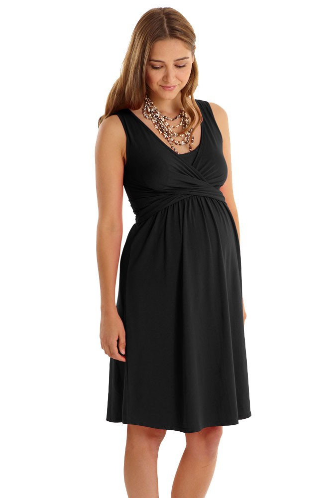 Ava Sleeveless Wrap Maternity & Nursing Dress by Mothers en Vogue (Black)