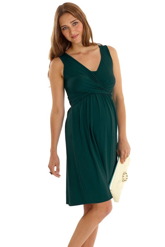 Ava Sleeveless Wrap Maternity & Nursing Dress (Myrtle Green)