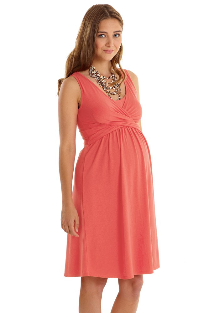 Ava Sleeveless Wrap Maternity & Nursing Dress (Nectarine)