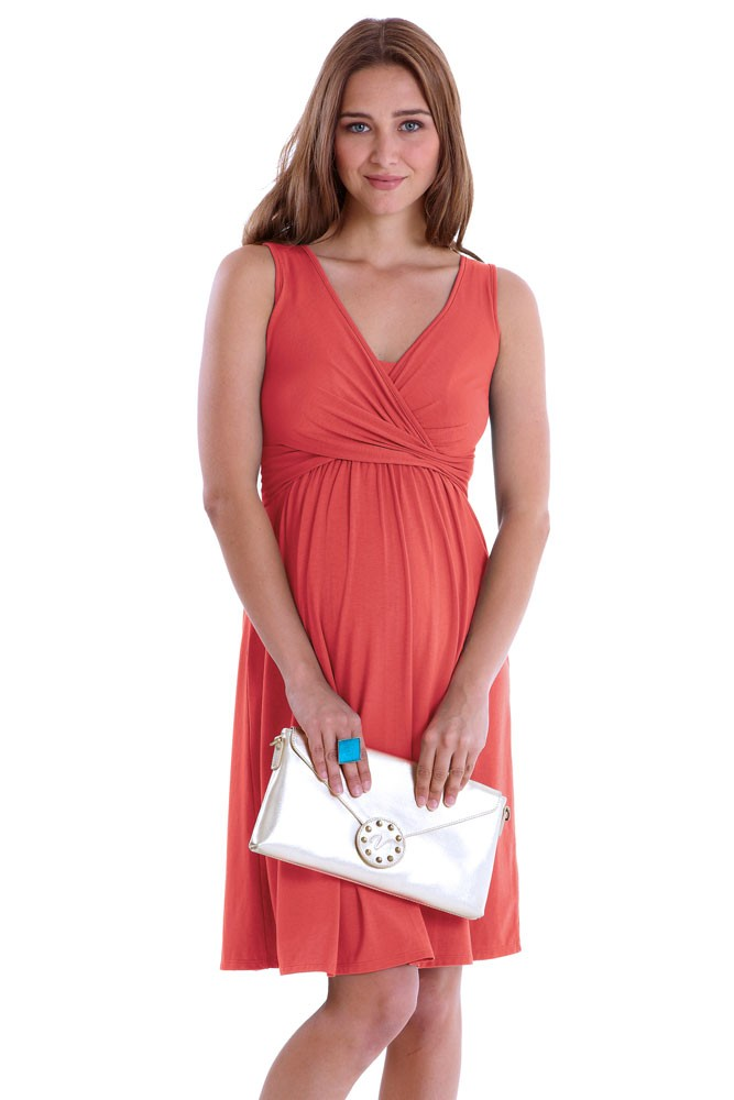 Ava Sleeveless Wrap Maternity & Nursing Dress (Georgia Peach)