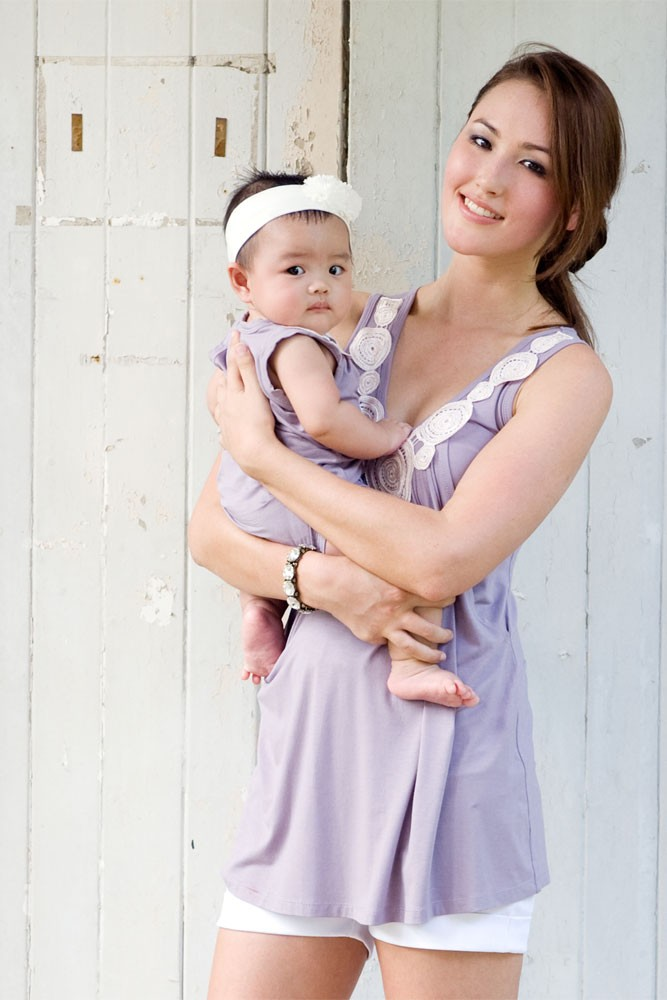 Zahra Bamboo Applique Maternity & Nursing Top (French Lilac)