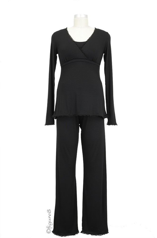 Majamas Margo Nursing PJ Set (Black with Black Lace)
