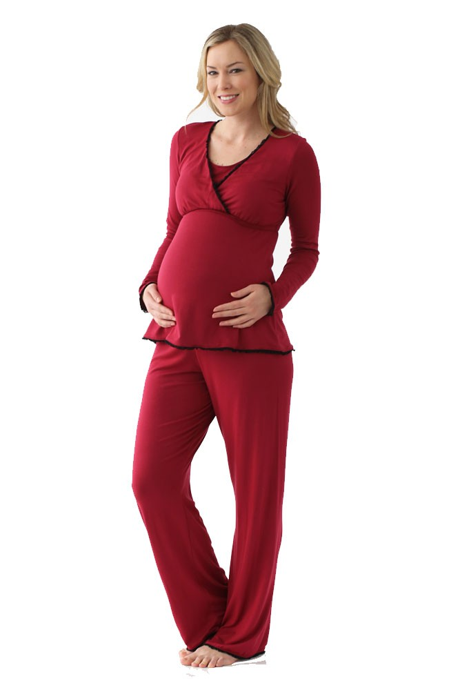 Majamas Margo Nursing PJ Set (Syrah with Black Lace)