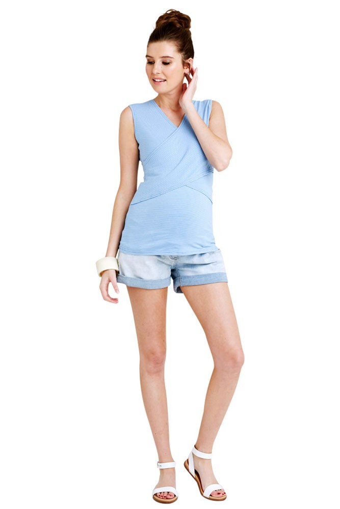 Embrace Sleeveless Cross Front Maternity & Nursing Tank (Mini Blue & White Stripes)