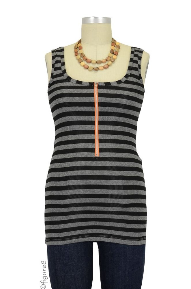 Molly Ades Zippered Nursing Tank (Black & Charcoal Stripes)