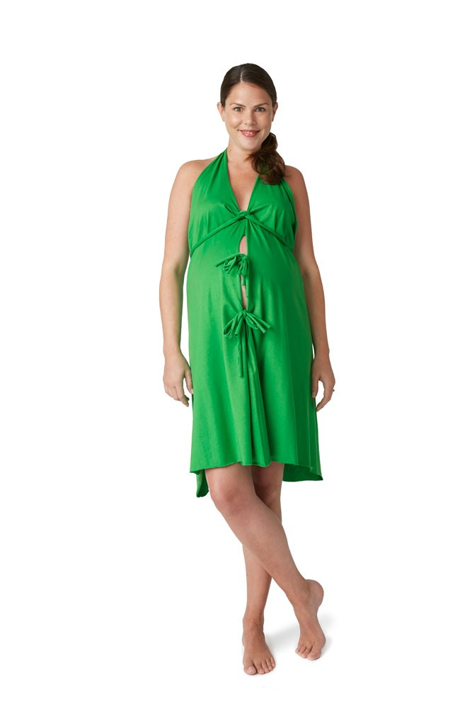 Pretty Pushers Cotton Jersey Labor Gown (Clover Green)