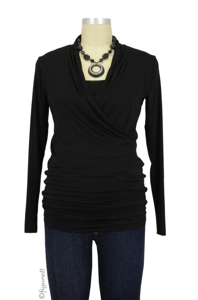 Baju Mama Isabella Raw Edge Maternity & Nursing Top - Long Sleeve (Black)
